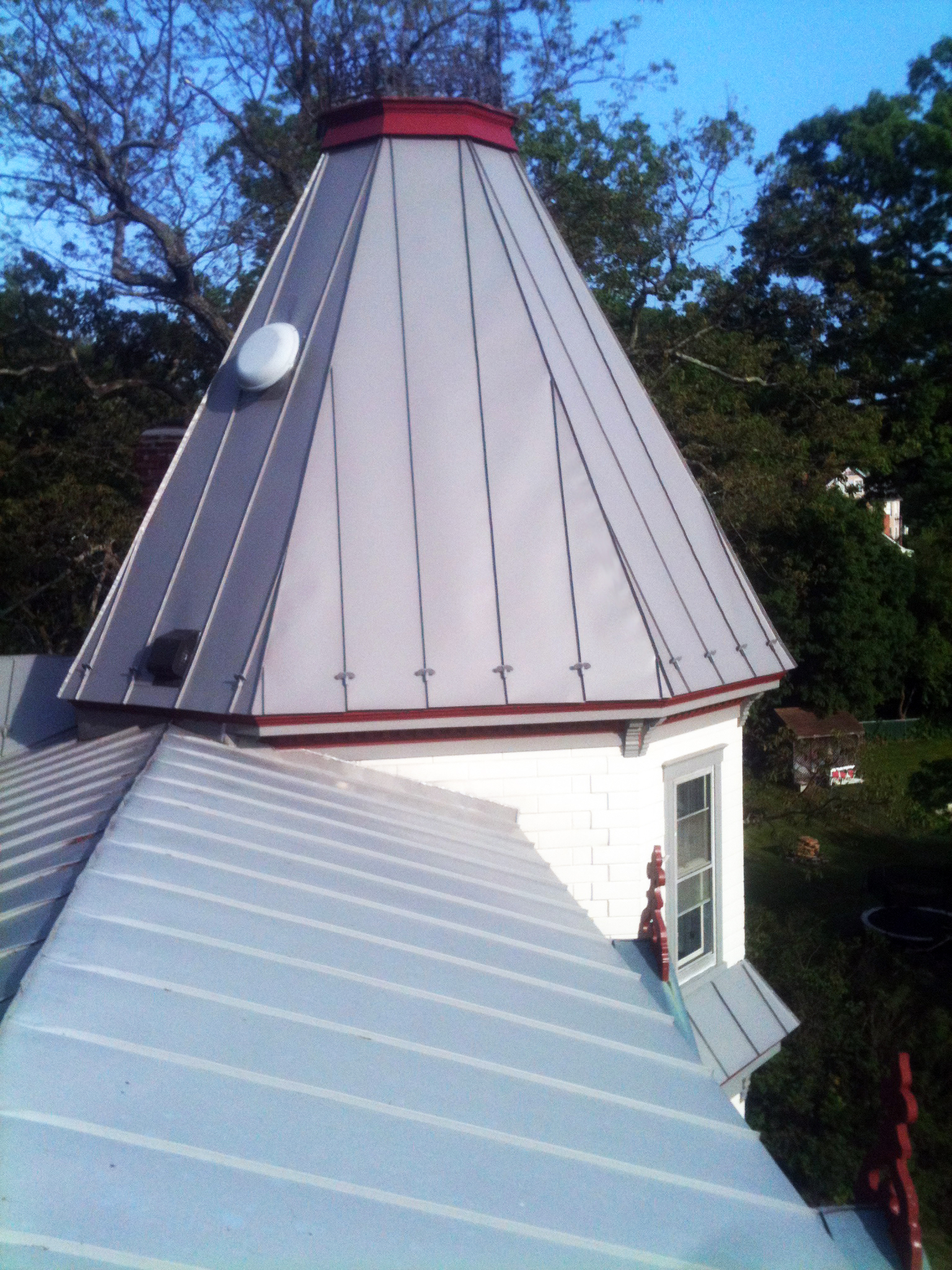 Metal Roofing Install on Turret in Germantown, MD.